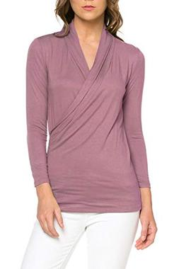 Women's 3/4 Sleeve Surplice Blouse Top - Cross Over, Nurisng