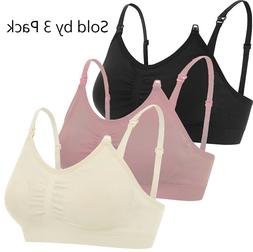 3-Pack Maternity Nursing Bra Breastfeeding with Pads Breast