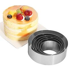 Wewin 6 Pieces Stainless Steel Round Shape Mousse Ring Home