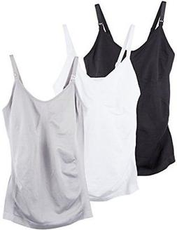Caramel Cantina 3 Pack Women's Nursing Cami Built in Bra Lar