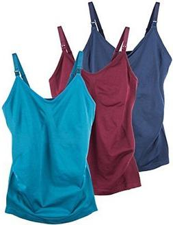 Caramel Cantina 3 Pack Women's Nursing Cami Built in Bra Med