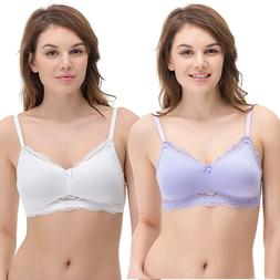 Curve Muse Plus Size Nursing Cotton Unlined Wirefree Bra Lac