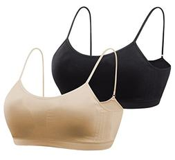 MIRITY Girls Spandex Comfort Bras with Removable Pads Pack o