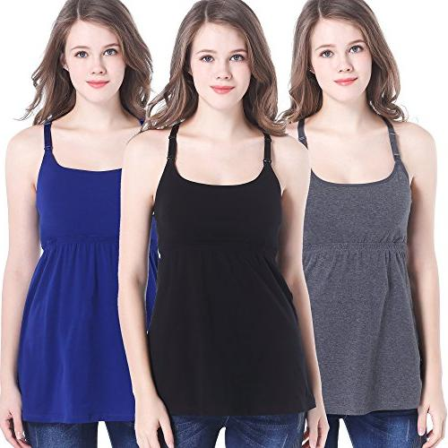 CAKYE Pack Cotton Maternity Nursing Tank Top Cami for Breastfeeding