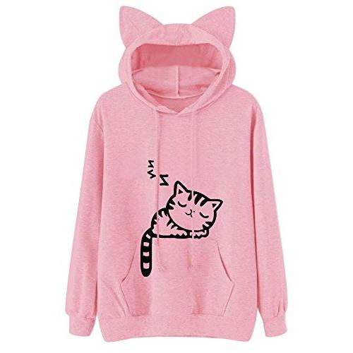 hooded pullover tops womens cat long sleeve