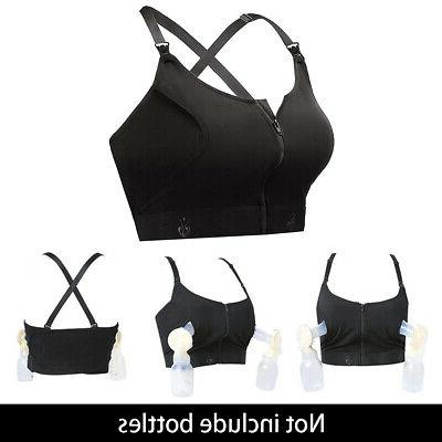Wireless Hands Free Breastfeeding Soft Pumping Bra Front Zip