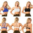 Women's Ladies Wire Free Padded Yoga Top Cross Strappy Back
