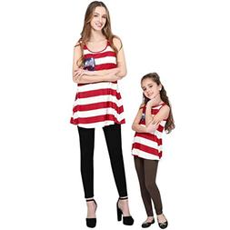 Mom&Me Mother Blouse 4th Of July Family Clothes USA Flag S