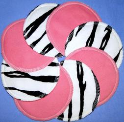 Nursing Pads - Pink & Zebra - 100% Cotton Washable by NuAnge