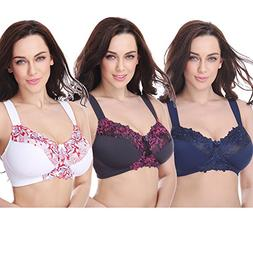 Curve Muse Plus Size Minimizer Unlined Wirefree Bra with Lac