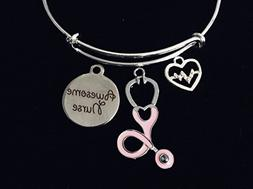 Pretty in Pink Awesome Nurse Jewelry Adjustable Bracelet Exp