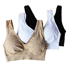 Cabales Women's 3-Pack Seamless Wireless Sports Bra with Rem