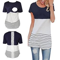 Maternity T Shirt - Lace Splice Pregnant Nursing Tank Top -