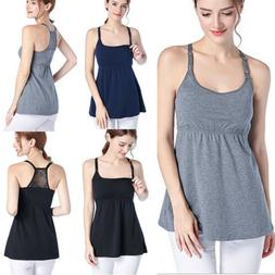 USA Women Maternity Breastfeeding Clothes Tee Sleeveless Nur