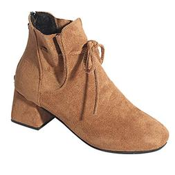 COPPEN Women Boots Back Zipper Suede Ankle Bow Fashion High