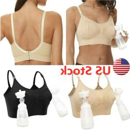 Women Hand Free Pump Nursing Bra Maternity Breast Feeding Pu